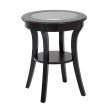 OSP Designs Harper Round Accent Table with Glass top and Brushed Black wood Finish