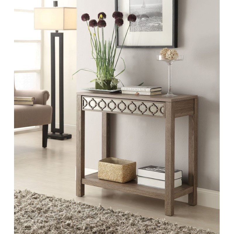 OSP Designs Helena Foyer Table with Mirror Panel in Greco Oak Finish
