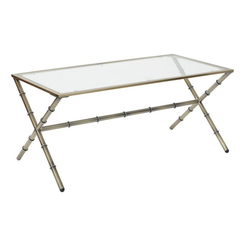 OSP Designs Lanai Coffee Table in Antique Brass Finish