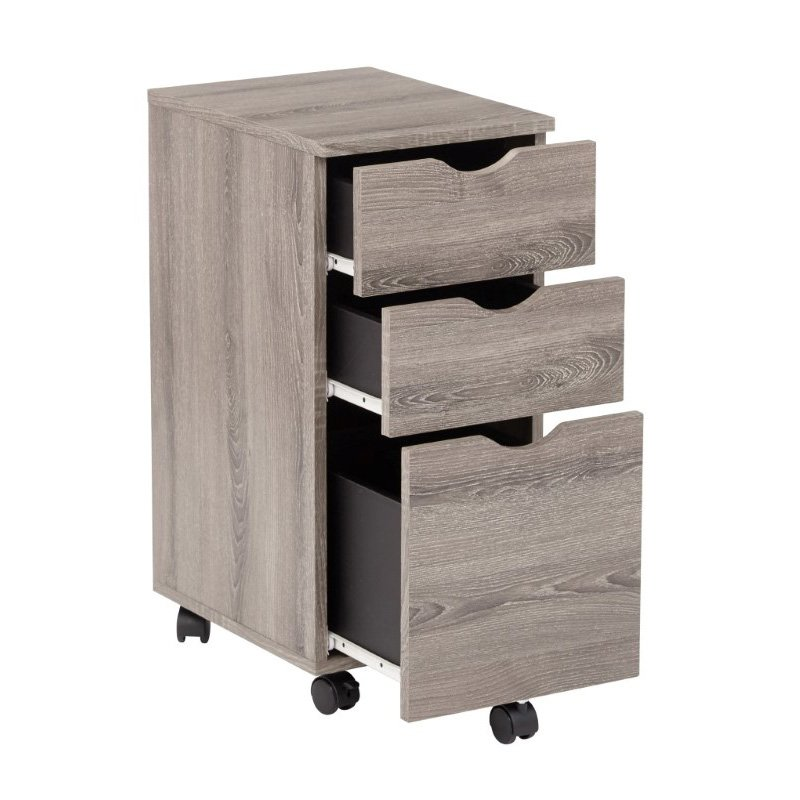 OSP Designs Lois File Cabinet in Dark Driftwood Finish