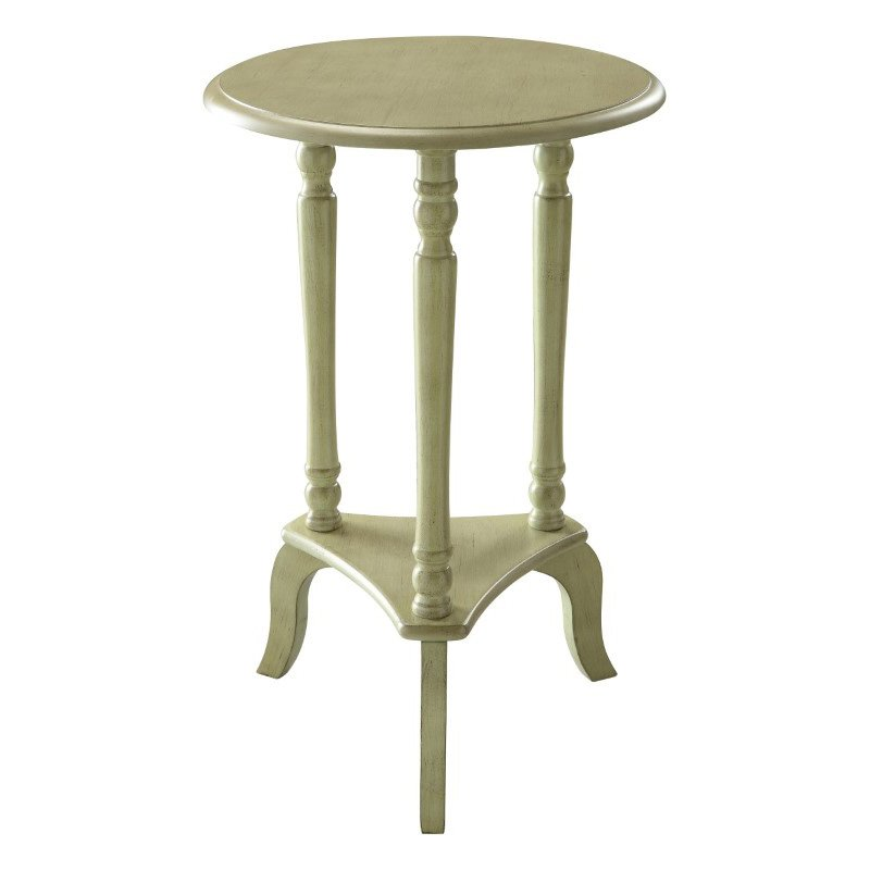 OSP Designs Marion Round Accent Table in Antique Celadon Finish