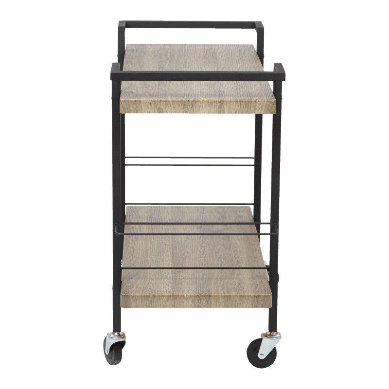 OSP Designs Maxwell Serving Cart in Ash Veneer Finish Black Powder Coated Steel Frame by OSP Designs