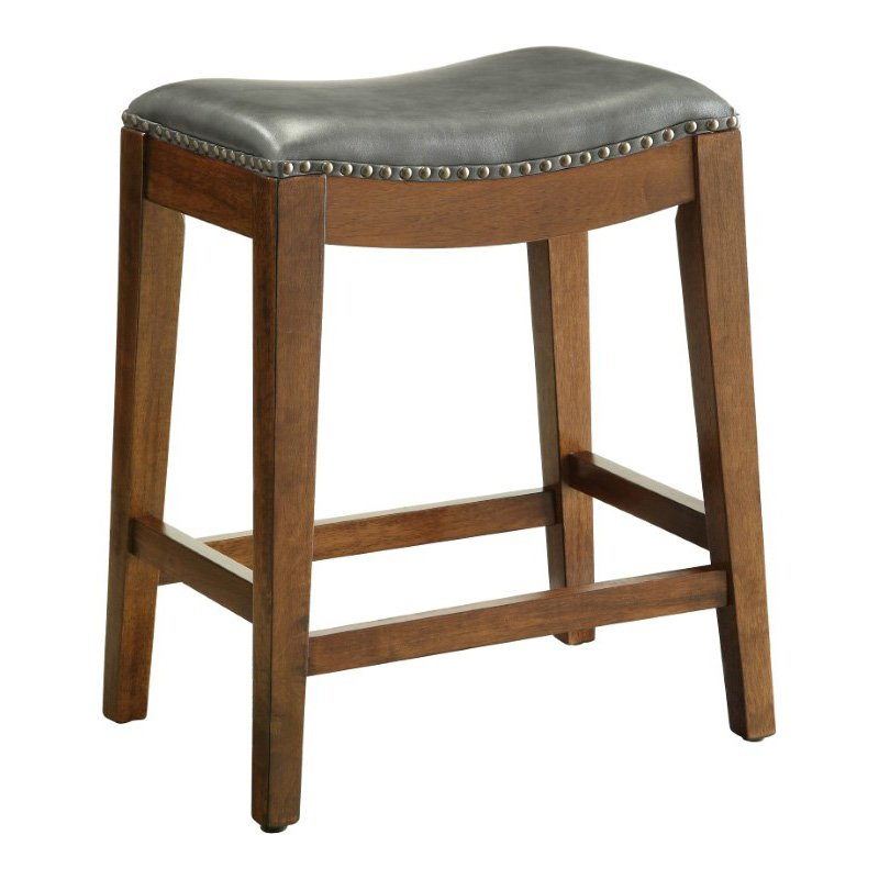 """OSP Designs Metro 24"""" Saddle Stool with Nail Head Accents and Espresso Finish Legs with Pewter Bonded Leather"""