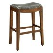 """OSP Designs Metro 29"""" Saddle Stool with Nail Head Accents and Espresso Finish Legs with Pewter Bonded Leather"""