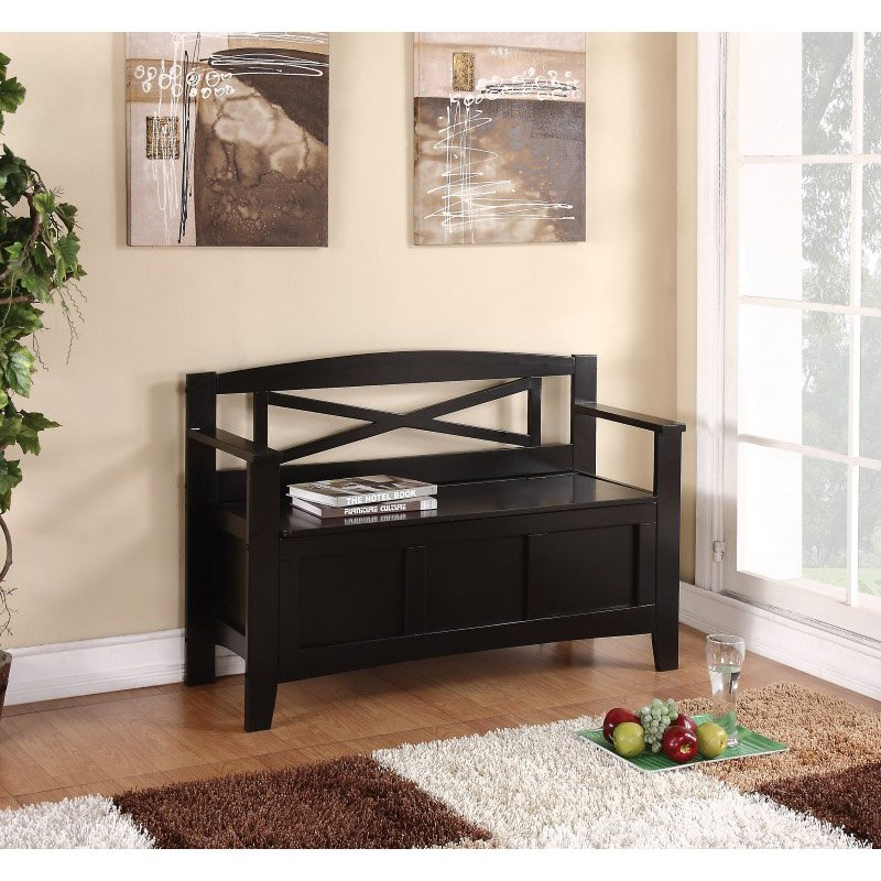OSP Designs Metro Entry Way Bench With Black Finish