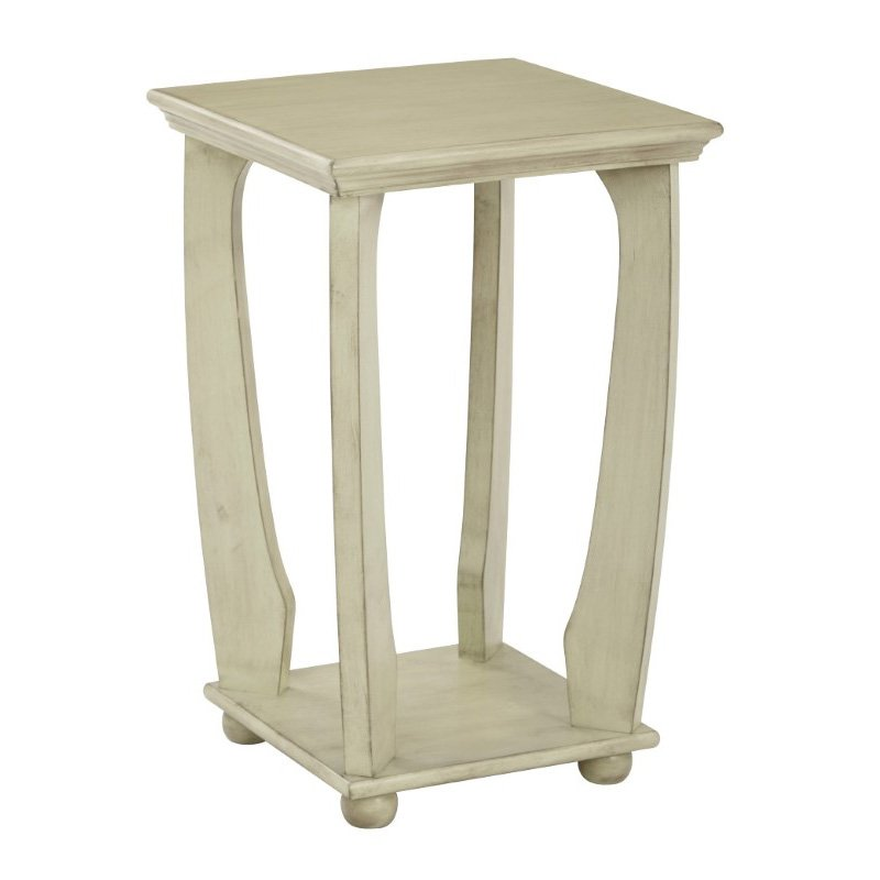 OSP Designs Mila Square Accent Table in Antiique Celadon Wood Finish