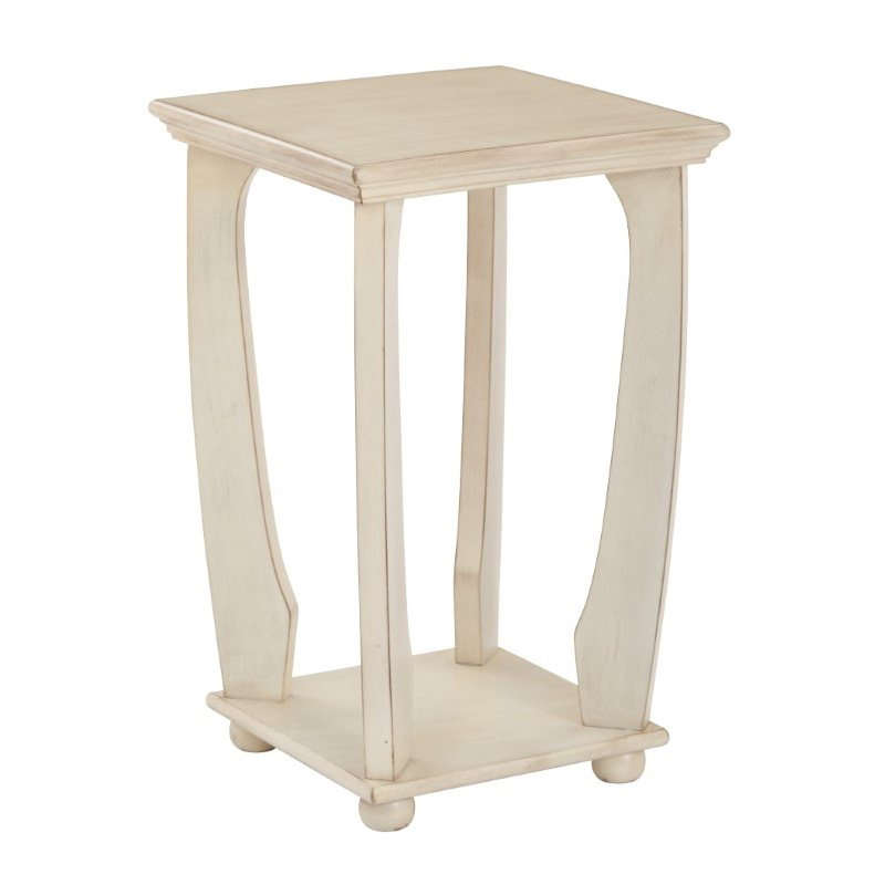 OSP Designs Mila Square Accent Table in Antique White Wood Finish