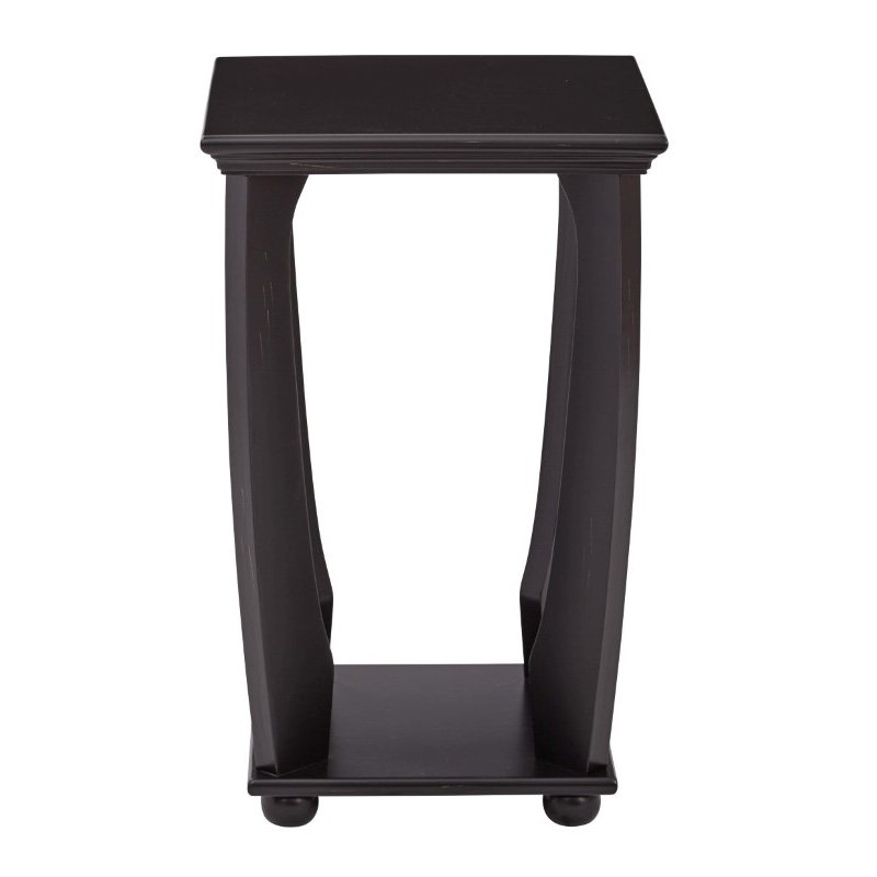 OSP Designs Mila Square Accent Table in Brushed Black Wood Finish
