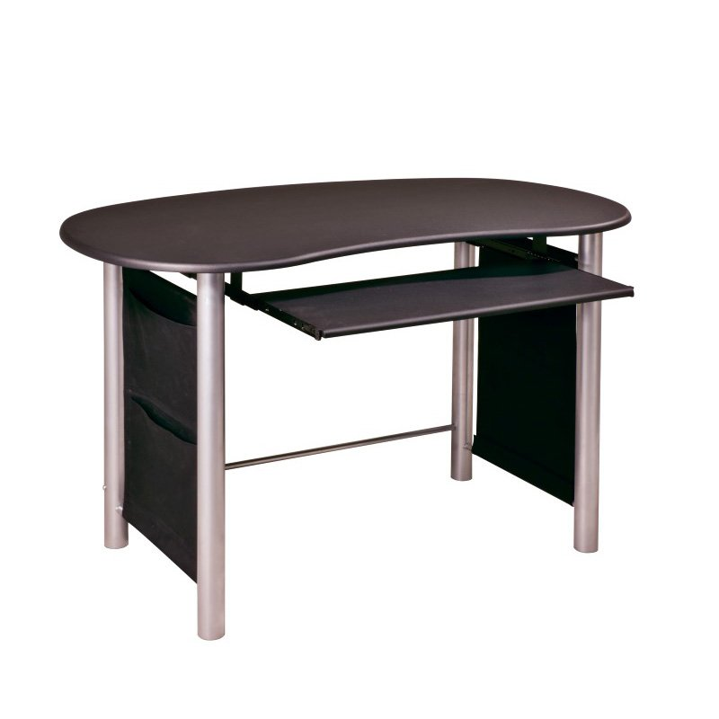 OSP Designs Saturn Multi-Media Black with Silver Accents Computer Desk