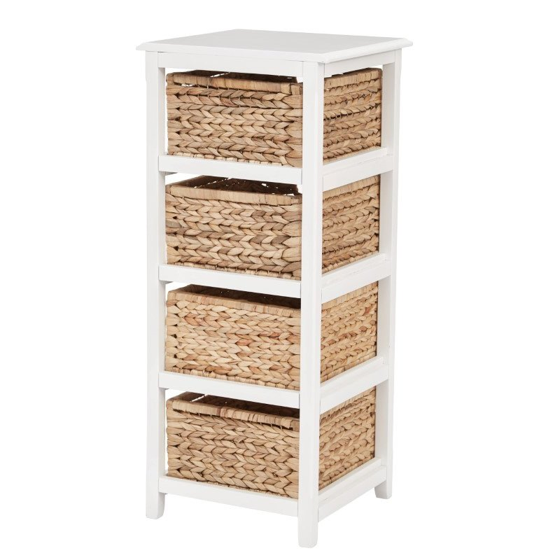 OSP Designs Seabrook Four-Tier Storage Unit With White Finish and Natural Baskets