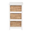 OSP Designs Seabrook Three-Tier Storage Unit With White Finish and Natural Baskets
