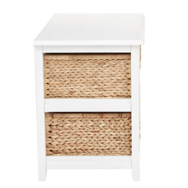 OSP Designs Seabrook Two-Tier Storage Unit With White Finish and Natural Baskets