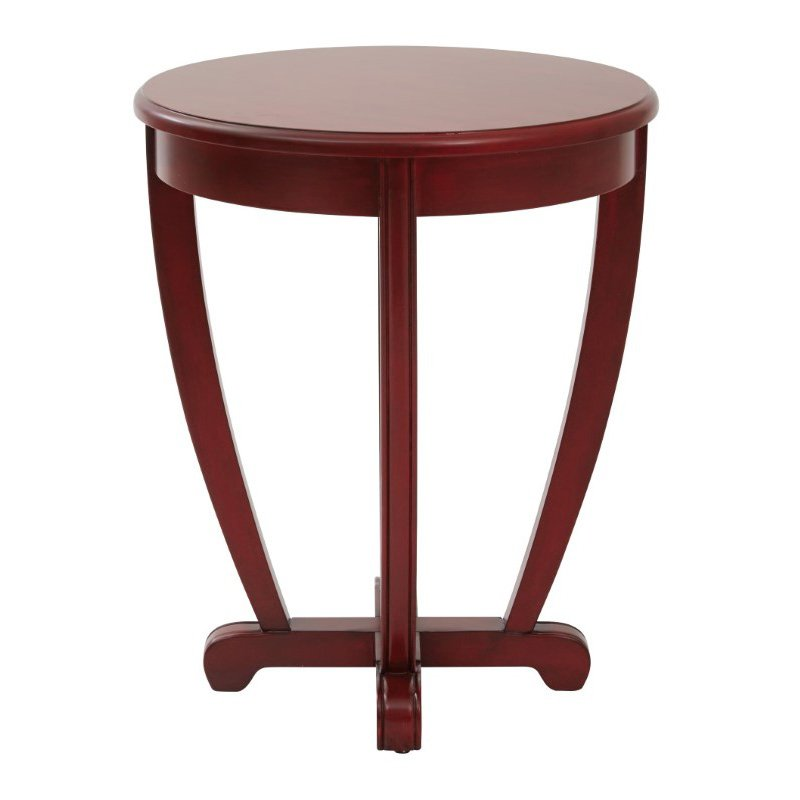 OSP Designs Tifton Round Accent Table Red Finish