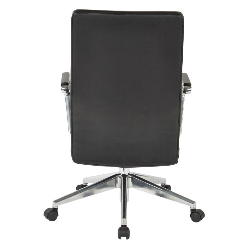 OSP Furniture Black Bonded Leather Manager's Chair with Polished Aluminum Arms and Base
