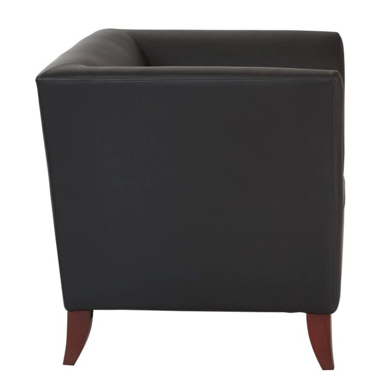 OSP Furniture Black Faux Leather Club Chair With Cherry Finish