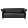 OSP Furniture Black Faux Leather Sofa With Cherry Finish