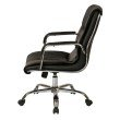 OSP Furniture Bonded Leather Managers Chair with Chrome Frame- Padded Arms and Dual Wheel Carpet Casters