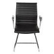OSP Furniture Bonded Leather Visitors Chair with Polished Aluminum Arms and Chrome Sled Base