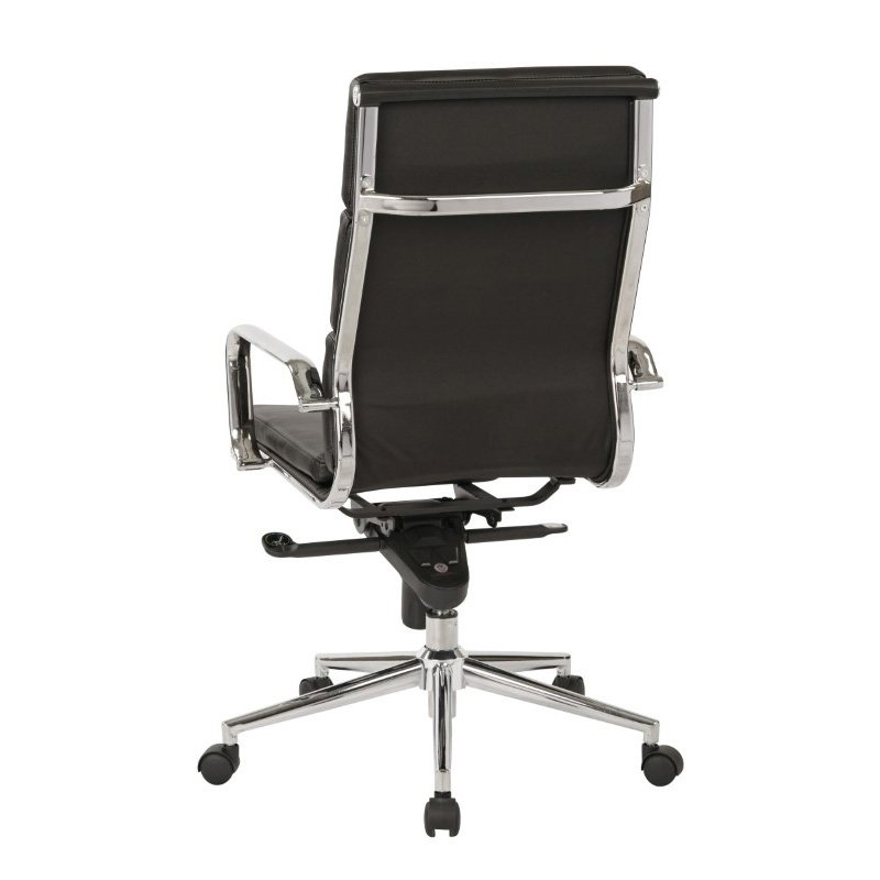 OSP Furniture High Back Black Bonded Leather Chair with Knee Tilt Control and Chrome Arms and Base