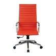 OSP Furniture High Back Red Bonded Leather Chair with Locking Tilt Control and Polished Aluminum Arms and Base
