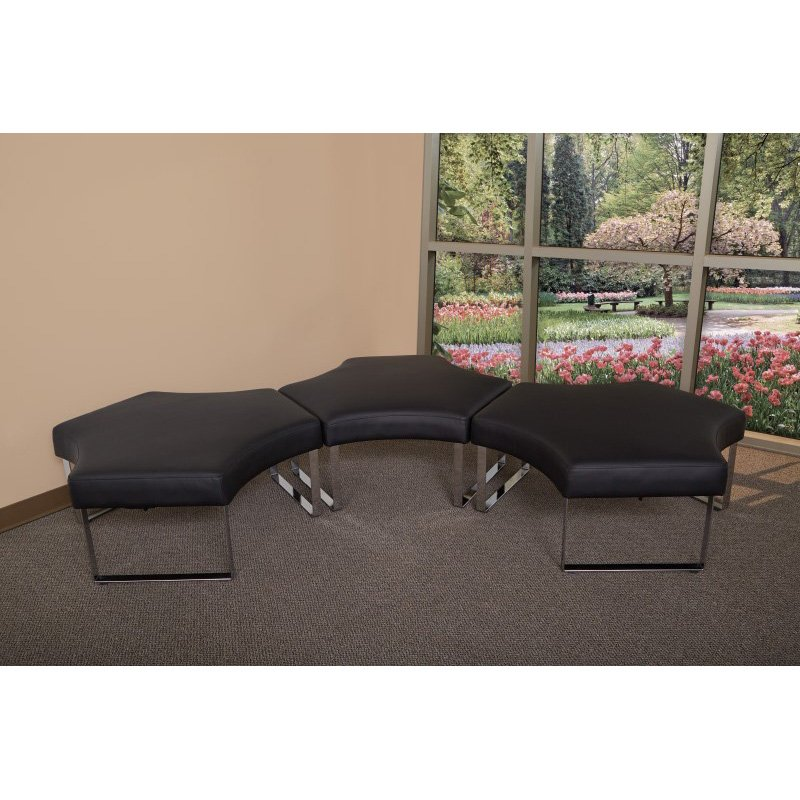 OSP Furniture Meetup Lounge Module with Chrome Legs and Black Dillon Fabric