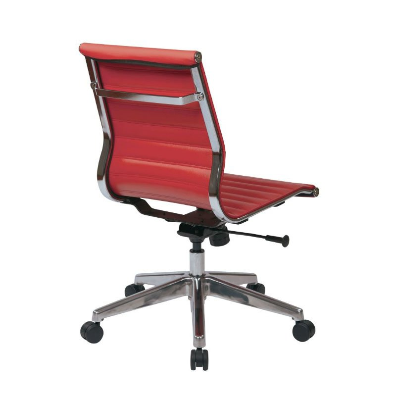 OSP Furniture Mid Back Armless Red Bonded Leather Chair with Polished Aluminum Arms and Base