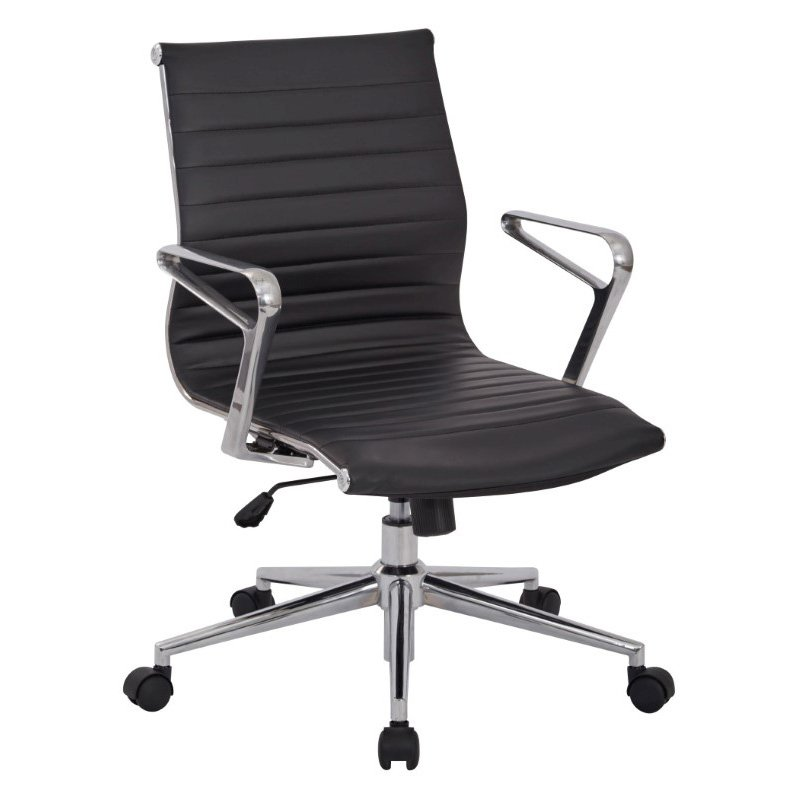 OSP Furniture Mid Back Bonded Leather Manager's Chair with Locking Tilit Control- Polished Aluminum Arms and Chrome Base