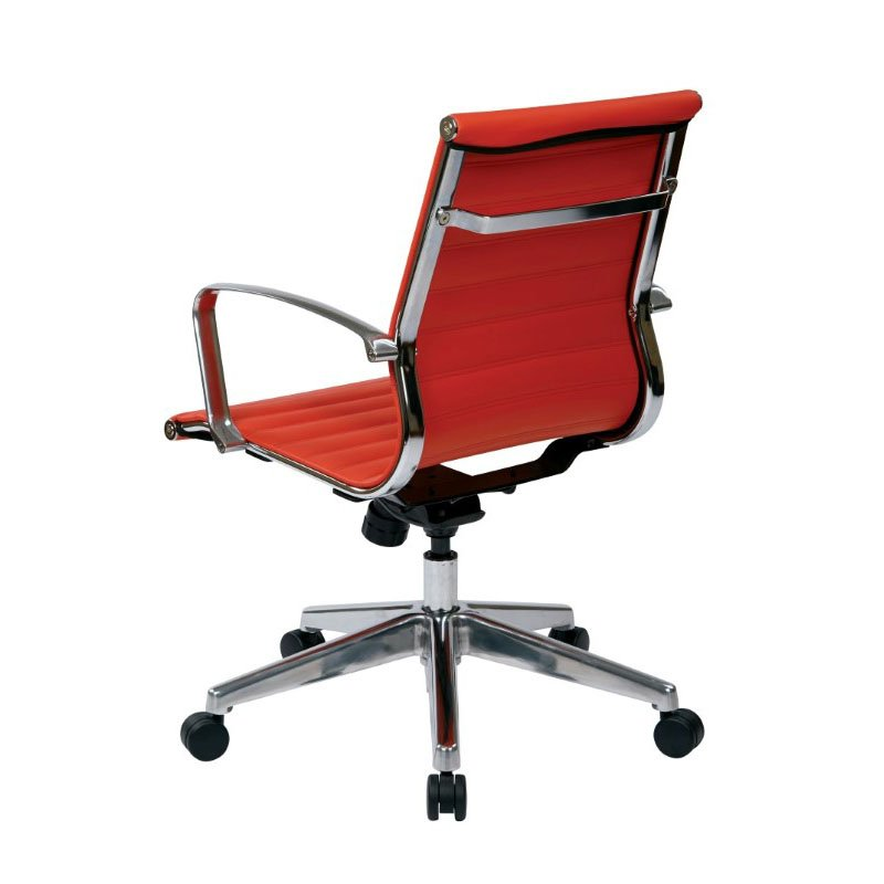 OSP Furniture Mid Back Red Bonded Leather Chair with Locking Tilt Control and Polished Aluminum Arms and Base
