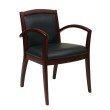OSP Furniture Napa Mahogany Guest Chair With Full Cushion Back (1-Pack)