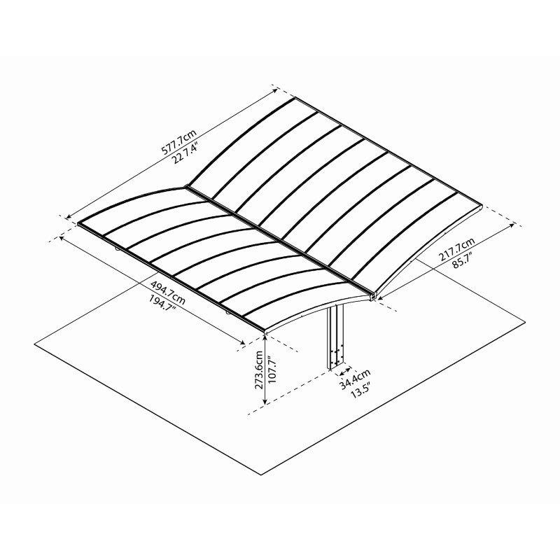 Palram Arizona Wave Double Carport Wing-Style in Gray (HG9101)