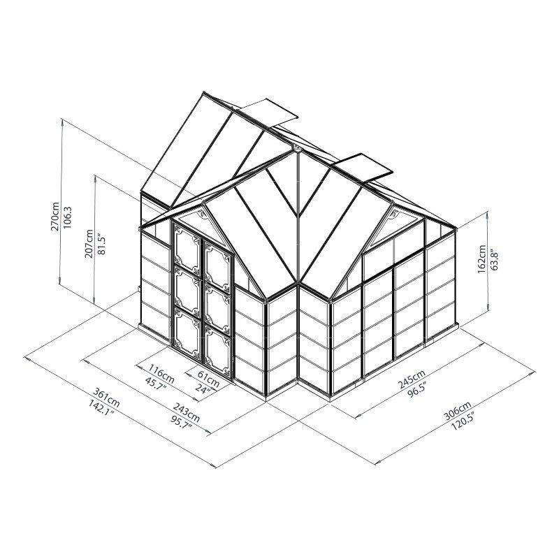 Palram Chalet 12' x 10' Greenhouse