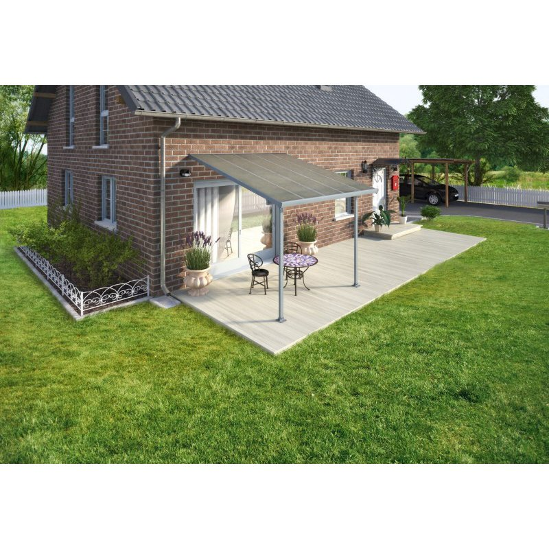 Palram Feria 10' x 10' Patio Cover in Gray and Clear