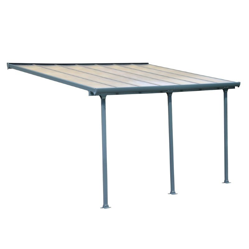 Palram Feria 10' x 14' Patio Cover in Gray and Clear