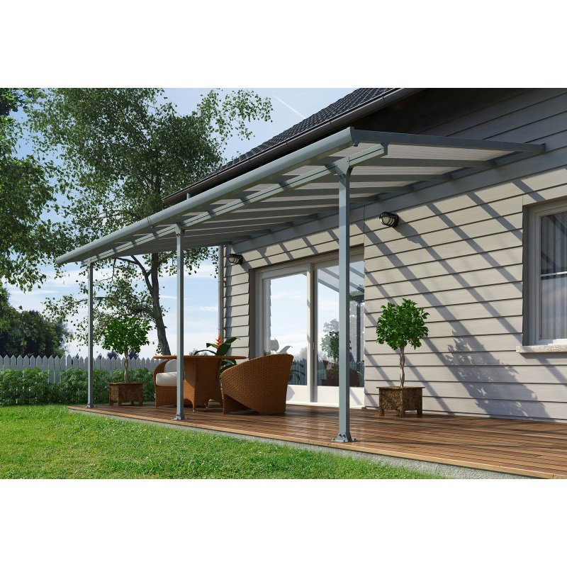 Palram Feria 10' x 20' Patio Cover in Gray and Clear