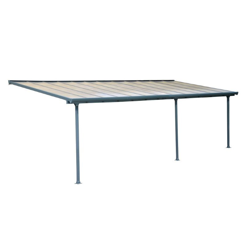 Palram Feria 10' x 24' Patio Cover in Gray and Clear