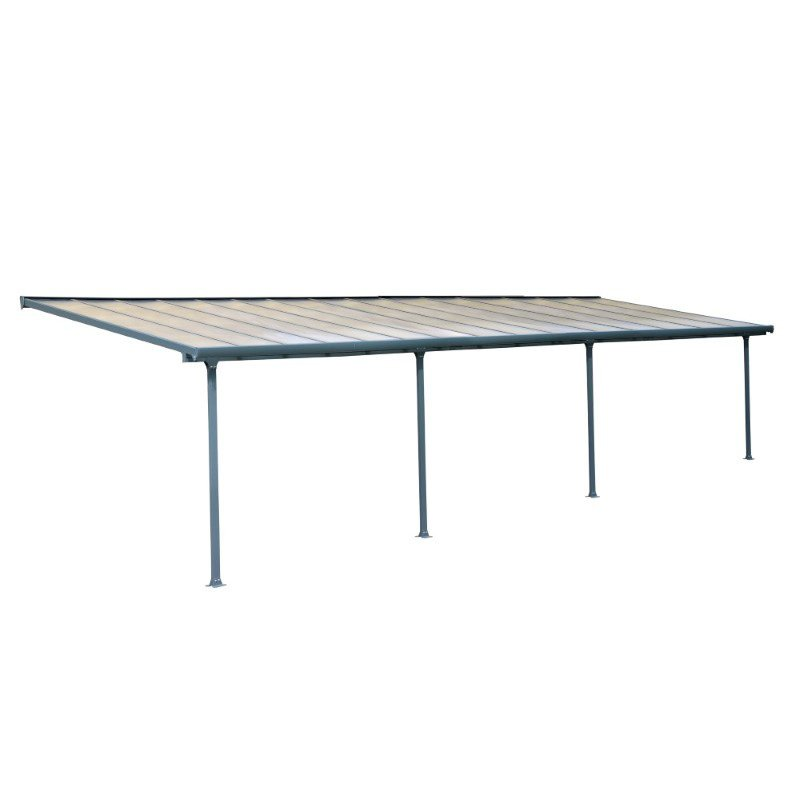 Palram Feria 10' x 30' Patio Cover in Gray and Clear