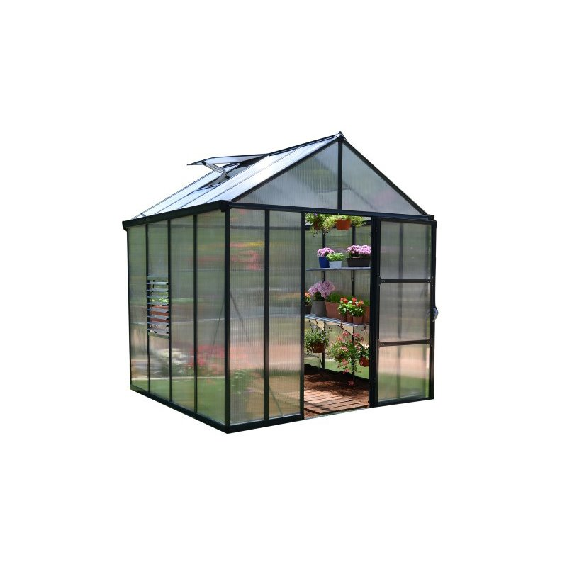 Palram Glory Hobby 8' x 8' Greenhouse in Charcoal Gray