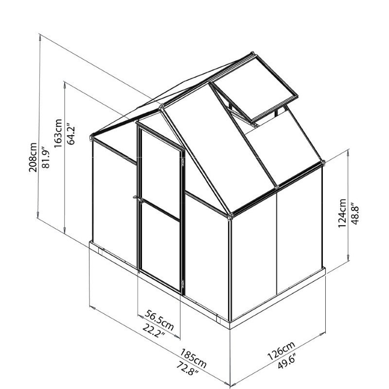 Palram Mythos 6' x 4' Hobby Greenhouse in Silver