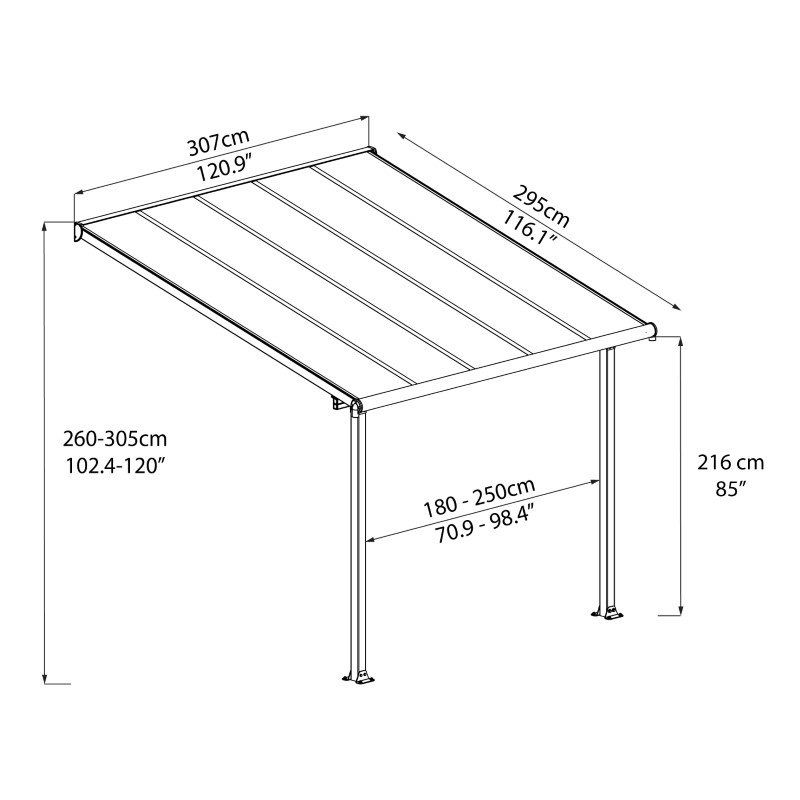 Palram Olympia 10' x 10' Patio Cover in Gray/Bronze (HG8810)