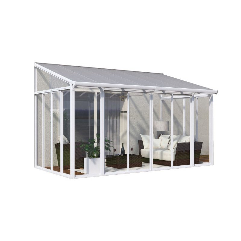 Palram SanRemo 10' x 14' Patio Enclosure in White with Screen Doors