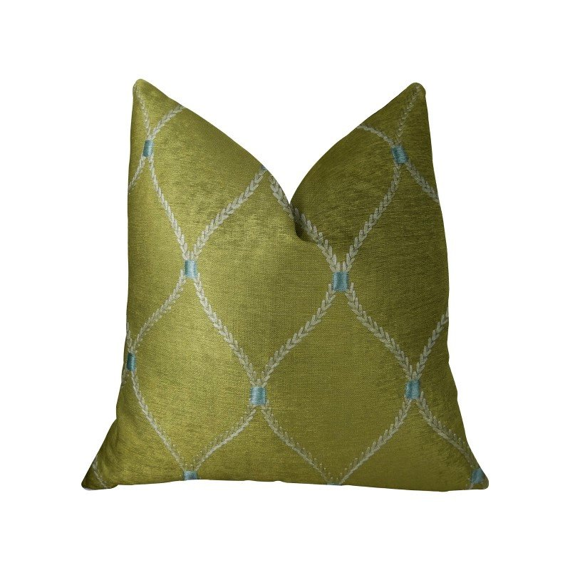 """Plutus Brands Abby Taupe White and Blue Handmade Luxury Pillow 16"""" x 16"""" (PBRAZ186-1616-DP)"""