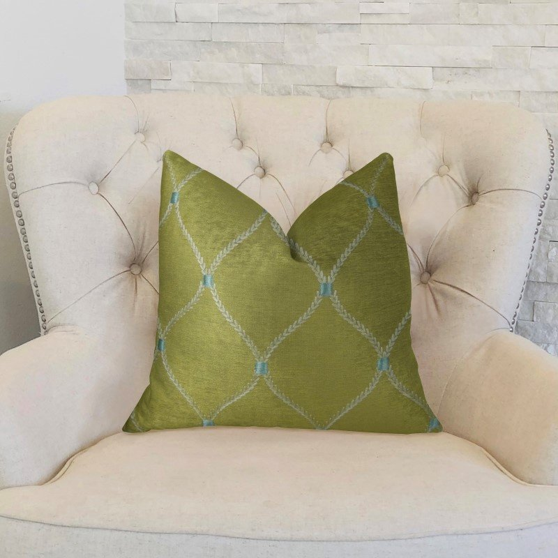 "Plutus Brands Abby Taupe White and Blue Handmade Luxury Pillow 18"" x 18"" (PBRAZ186-1818-DP)"