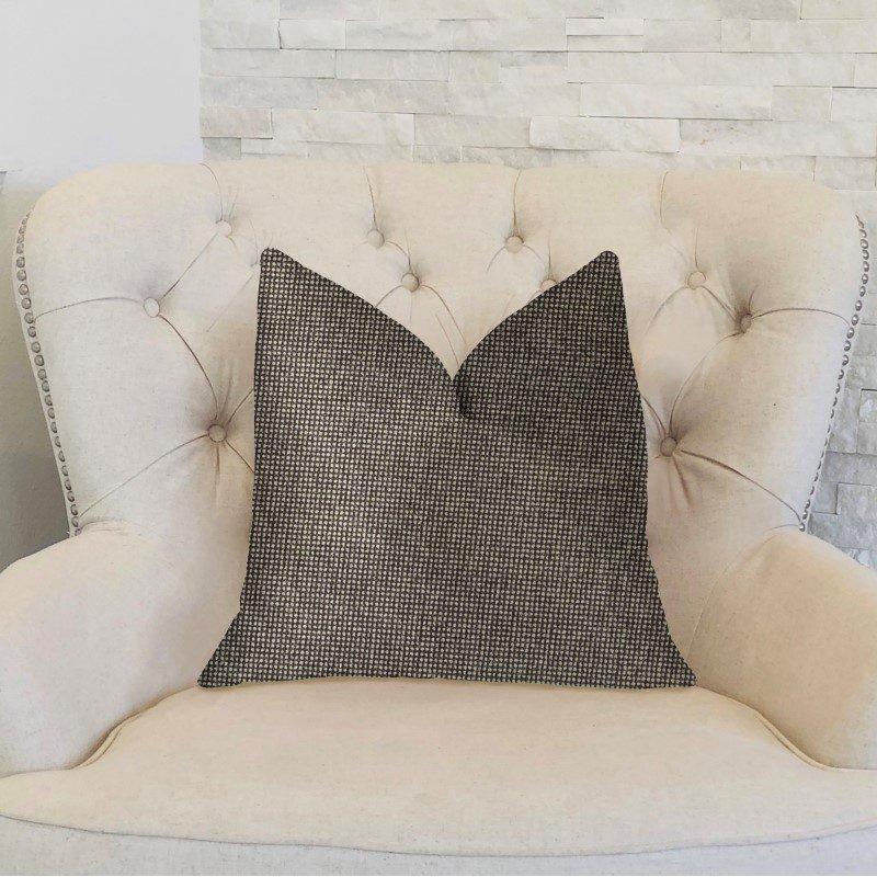 "Plutus Brands Abigail Charcoal Luxury Throw Pillow 22"" x 22"" (PBKR1987-2222-DP)"