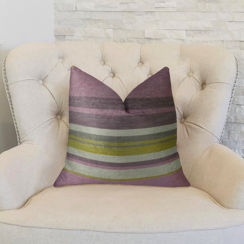 "Plutus Brands Acai Crush Berry Olive and Cream Handmade Luxury Pillow 16"" x 16"" (PBRAZ268-1616-DP)"