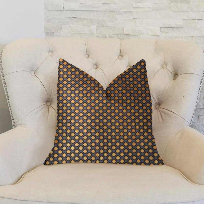 """Plutus Brands Aliza Gold and Gray Luxury Throw Pillow 20"""" x 30"""" Queen (PBKR1912-2030-DP)"""