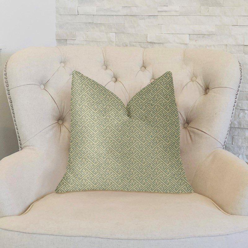 "Plutus Brands Alpine Maize Blue and Beige Luxury Throw Pillow 16"" x 16"" (PBKR2003-1616-DP)"