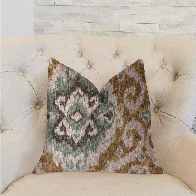 "Plutus Brands Ambrosia Yellow and Beige Luxury Throw Pillow 12"" x 20"" (PBRA2243-1220-DP)"