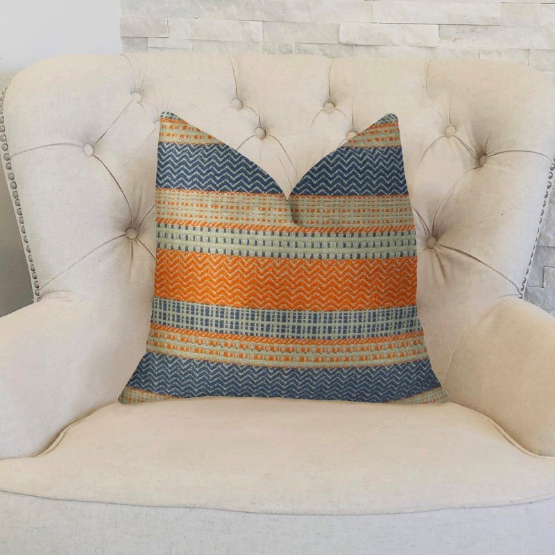 "Plutus Brands Anastasia Orange Navy and Cream Handmade Luxury Pillow 12"" x 20"" (PBRAZ166-1220-DP)"