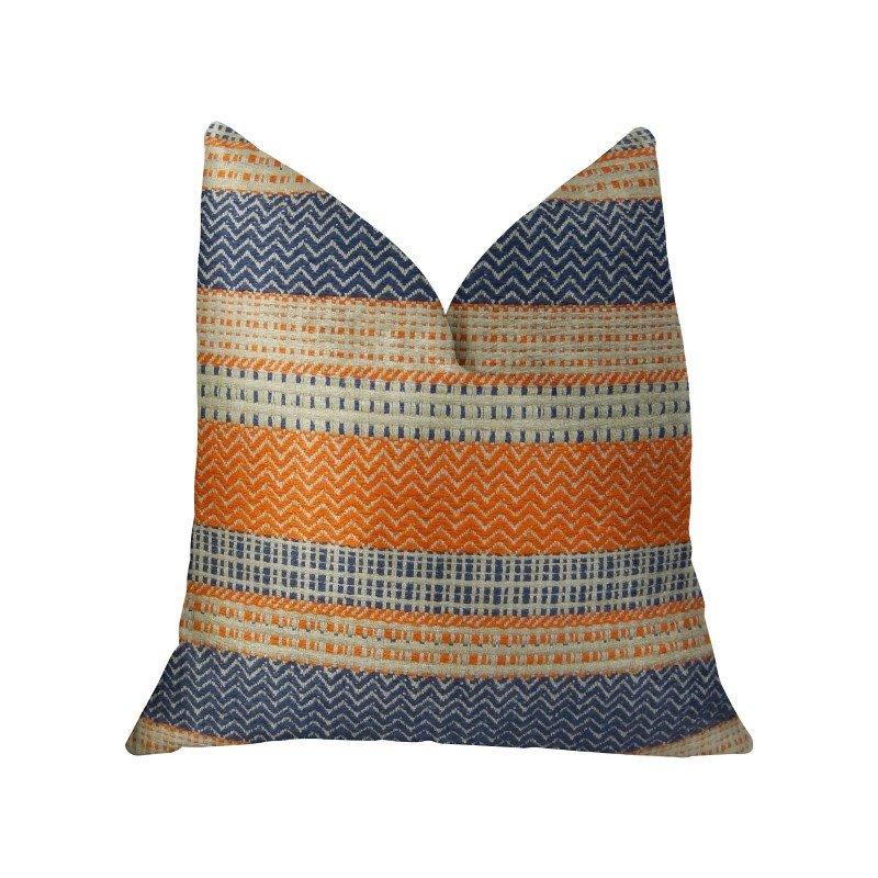 "Plutus Brands Anastasia Orange Navy and Cream Handmade Luxury Pillow 16"" x 16"" (PBRAZ166-1616-DP)"
