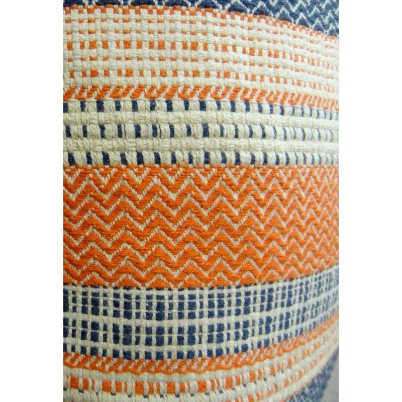 "Plutus Brands Anastasia Orange Navy and Cream Handmade Luxury Pillow 22"" x 22"" (PBRAZ166-2222-DP)"